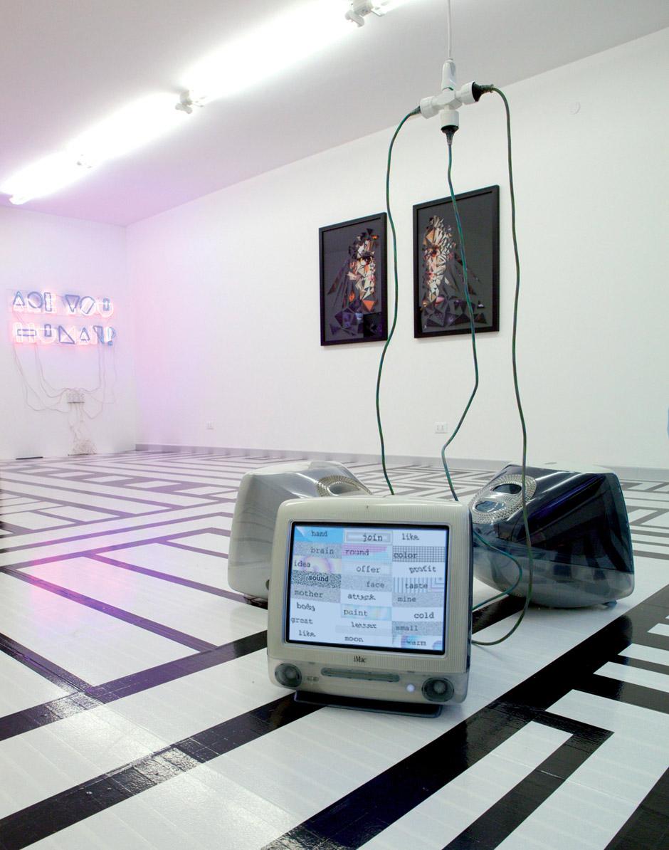 """Marotta & Russo - Maybe, Pain? Maybe, Desire? Maybe, Time?, video animazione (01' 15""""), 3 Apple iMac CRT, dimensioni variabili"""